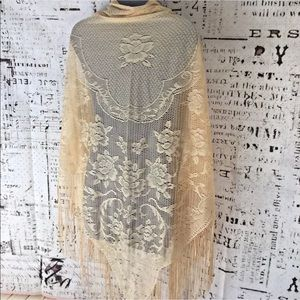 Vintage Piano Shaw  WRAP Fringed Dark Ivory Color